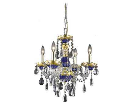 Elegant Lighting Alexandria Royal Cut Blue & Crystal Four-Light 19'' Wide Mini Chandelier EG7810D19BE