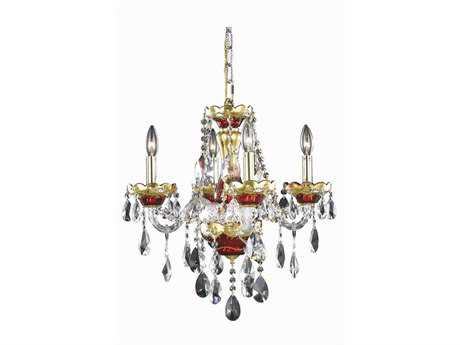 Elegant Lighting Alexandria Royal Cut Gold/Red & Crystal Four-Light 19'' Wide Mini Chandelier EG7810D19G