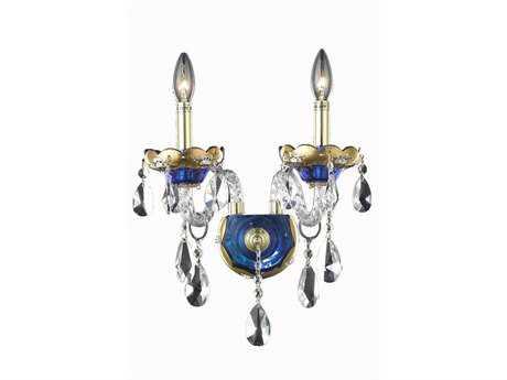 Elegant Lighting Alexandria Royal Cut Blue & Crystal Two-Light Wall Sconce EG7810W2BE