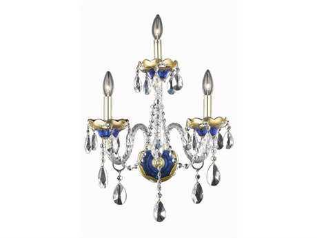 Elegant Lighting Alexandria Royal Cut Blue & Crystal Three-Light Wall Sconce EG7810W3BE