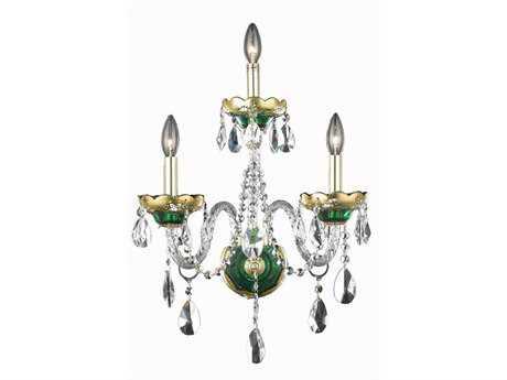 Elegant Lighting Alexandria Royal Cut Green & Crystal Three-Light Wall Sconce EG7810W3GN