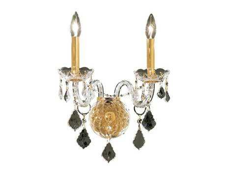 Elegant Lighting Alexandria Royal Cut Gold & Crystal Two-Light Wall Sconce EG7831W2G