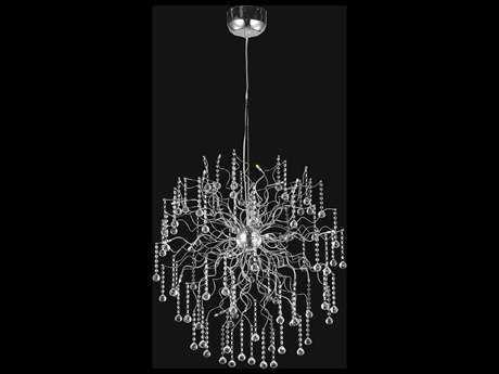 Elegant Lighting Astro Chrome & Clear Crystal 18-Lights 33'' Wide Pendant Light EG2075D33CRC