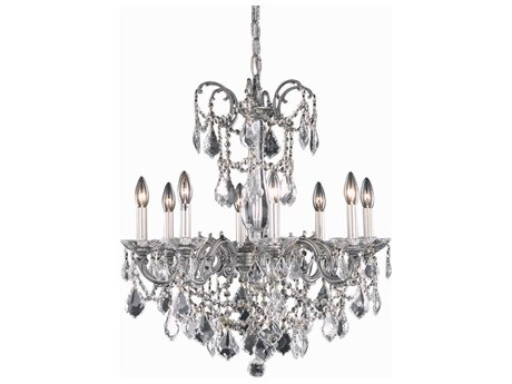 Elegant Lighting Athena Pewter Eight-Light 24'' Wide Chandelier with Spectra Cut Crystal