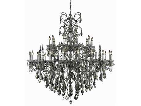 Elegant Lighting Athena Royal Cut Pewter & Golden Teak 30-Light 53'' Wide Grand Chandelier EG9730G53PWGT