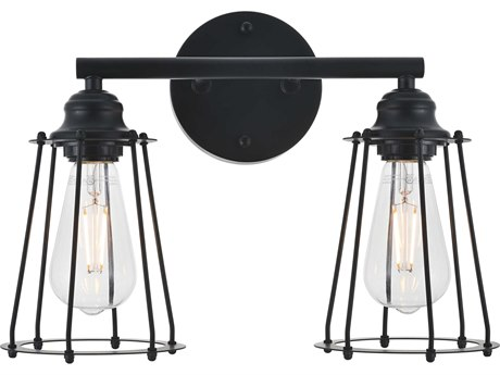 Living District by Elegant Lighting Black Two-Light 15'' Wide Wall Sconce