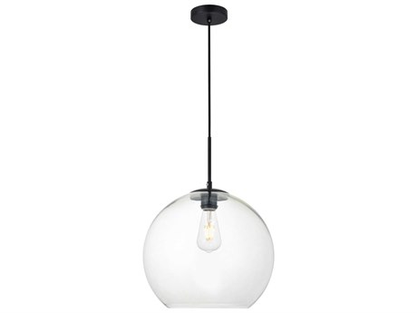Elegant Lighting Baxter Black And Clear 13'' Wide Glass Pendant