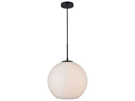 Elegant Lighting Baxter Black And Frosted White 13'' Wide Glass Pendant