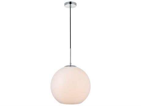 Elegant Lighting Baxter Chrome And Frosted White 13'' Wide Glass Pendant