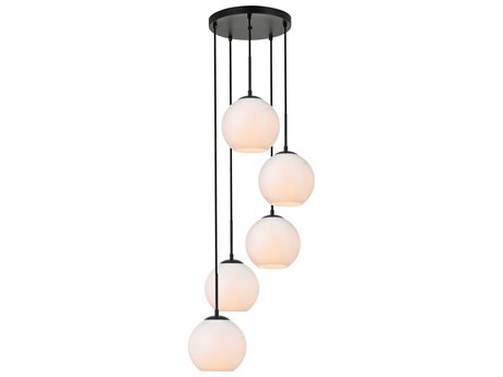 Elegant Lighting Baxter Black And Frosted White 18'' Wide Glass Pendant