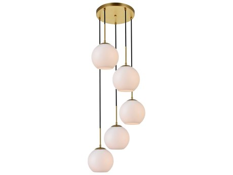 Elegant Lighting Baxter Brass And Frosted White 18'' Wide Glass Pendant
