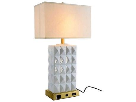 Elegant Lighting Brio Brushed Brass / White Buffet Lamp