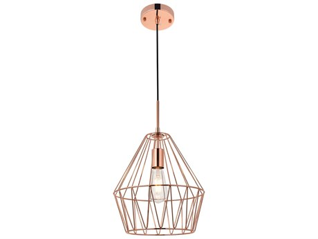 Living District by Elegant Lighting Rose Gold 12'' Wide Mini-Pendant Light