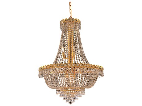 Elegant Lighting Century Royal Cut Gold & Crystal 12-Light 24'' Wide Chandelier EG1900D24G