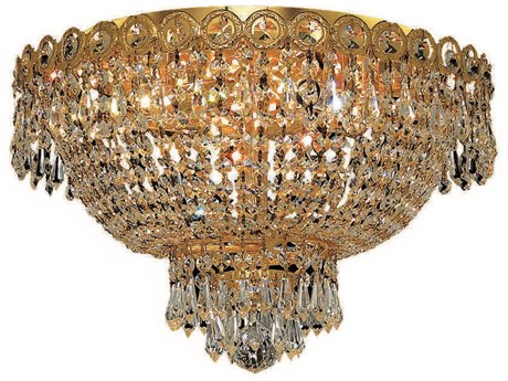 Elegant Lighting Century Royal Cut Gold & Crystal Four-Light 16'' Wide Flush Mount Light EG1900F16G