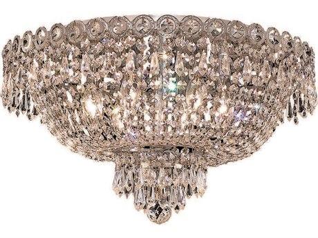 Elegant Lighting Century Royal Cut Chrome & Crystal Six-Light 18'' Wide Flush Mount Light EG1900F18C