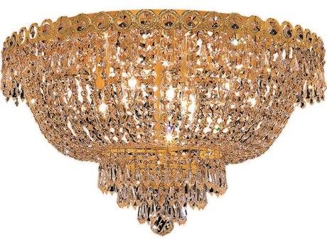 Elegant Lighting Century Royal Cut Gold & Crystal Nine-Light 20'' Wide Flush Mount Light EG1900F20G