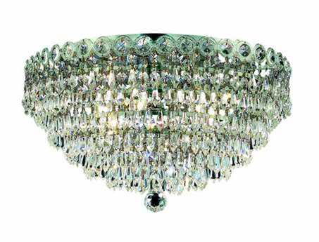 Elegant Lighting Century Royal Cut Chrome & Crystal Four-Light 14'' Wide Flush Mount Light EG1902F14C