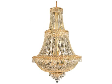 Elegant Lighting Century Royal Cut Gold & Crystal 17-Light 30'' Wide Grand Chandelier EG1900G30G