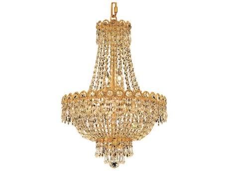 Elegant Lighting Century Royal Cut Gold & Crystal Eight-Light 16'' Wide Mini Chandelier EG1900D16G