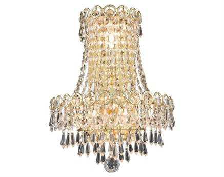 Elegant Lighting Century Royal Cut Gold & Crystal Three-Light Wall Sconce EG1902W12SG