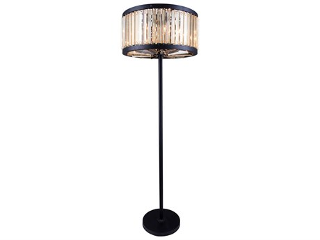 Elegant Lighting Chelsea Mocha Brown & Golden Teak Crystal Six-Lights Floor Lamp EG1203FL25MBGT
