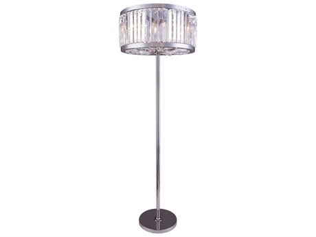 Elegant Lighting Chelsea Polished Nickel & Clear Crystal Six-Lights Floor Lamp