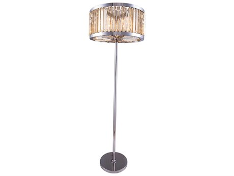 Elegant Lighting Chelsea Polished Nickel & Golden Teak Crystal Six-Lights Floor Lamp EG1203FL25PNGT
