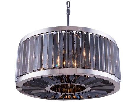 Elegant Lighting Chelsea Polished Nickel & Silver Shade Crystal Eight-Lights 28'' Wide Pendant Light