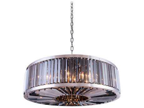 Elegant Lighting Chelsea Polished Nickel & Silver Shade Crystal Ten-Lights 43.5'' Wide Pendant Light