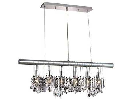 Elegant Lighting Chorus Line Royal Cut Chrome & Crystal Six-Light 30'' Long Island Light EG3100D30C