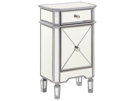 Elegant Decor by Elegant Lighting Hand Rubbed Antique Silver 18'' Wide Accent Cabinet
