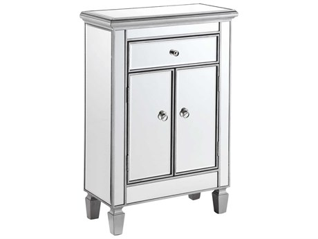 Elegant Decor by Elegant Lighting Hand Rubbed Antique Silver 24'' Wide Accent Cabinet