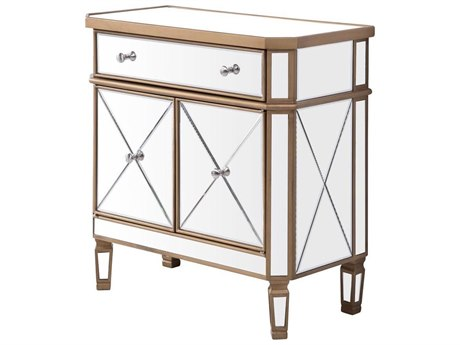 Elegant Decor by Elegant Lighting Hand Rubbed Antique Gold 32'' Wide Accent Cabinet