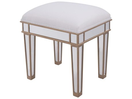 Elegant Decor by Elegant Lighting Hand Rubbed Antique Gold 18'' Wide Accent Stool