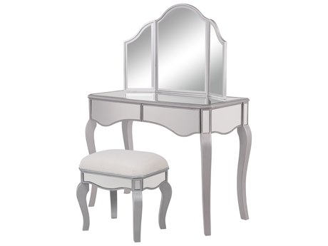 Elegant Decor by Elegant Lighting Hand Rubbed Antique Silver 42'' Wide Vanity Set Combo