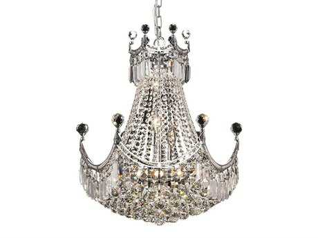 Elegant Lighting Corona Royal Cut Chrome & Crystal Nine-Light 20'' Wide Chandelier EG8949D20C