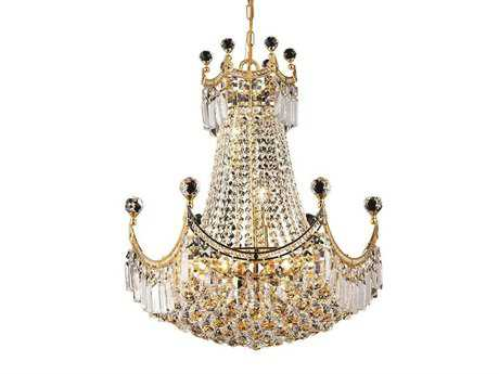 Elegant Lighting Corona Royal Cut Gold & Crystal Nine-Light 20'' Wide Chandelier EG8949D20G