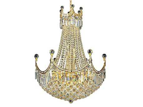 Elegant Lighting Corona Royal Cut Gold & Crystal 18-Light 24'' Wide Chandelier EG8949D24G