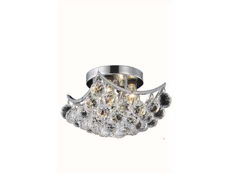 Elegant Lighting Corona Royal Cut Chrome & Crystal Four-Light 10'' Wide Semi-Flush Mount Light EG9800F10C