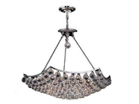 Elegant Lighting Corona Royal Cut Chrome & Crystal 12-Light 26'' Wide Pendant EG9802D26C