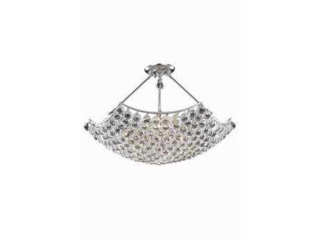 Elegant Lighting Corona Royal Cut Chrome & Crystal 12-Light 30'' Wide Pendant EG9802D30C