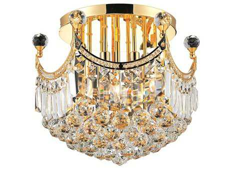 Elegant Lighting Corona Royal Cut Gold & Crystal Six-Light 16'' Wide Semi-Flush Mount Light EG8949F16G
