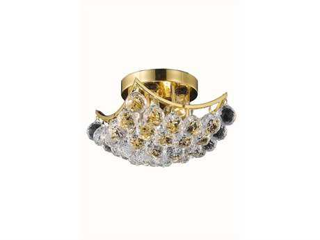 Elegant Lighting Corona Royal Cut Gold & Crystal Four-Light 10'' Wide Semi-Flush Mount Light EG9800F10G
