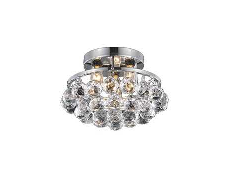 Elegant Lighting Corona Royal Cut Chrome & Crystal Three-Light 10'' Wide Semi-Flush Mount Light EG9805F10C