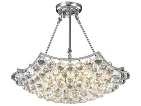 Elegant Lighting Corona Chrome Six-Light 22'' Wide Semi-Flush Mount Light With Royal Cut Crystal EGV9802D22CRC