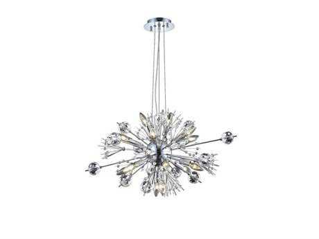 Elegant Lighting Cyclone Elegant Cut Chrome & Crystal 22-Light 24'' Wide Pendant