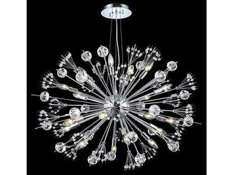 Elegant Lighting Cyclone Elegant Cut Chrome & Crystal 24-Light 36'' Wide Pendant Light EG3400D36C