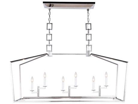 Elegant Lighting Denmark Polished Nickel Six-Light 54'' Wide Island Light EG1512G54PN