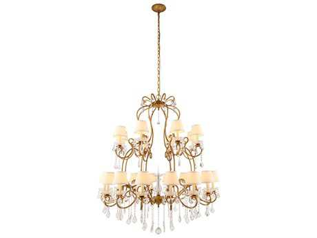 Elegant Lighting Diana Golden Iron & Clear Crystal 24-Lights 44'' Wide Grand Chandelier